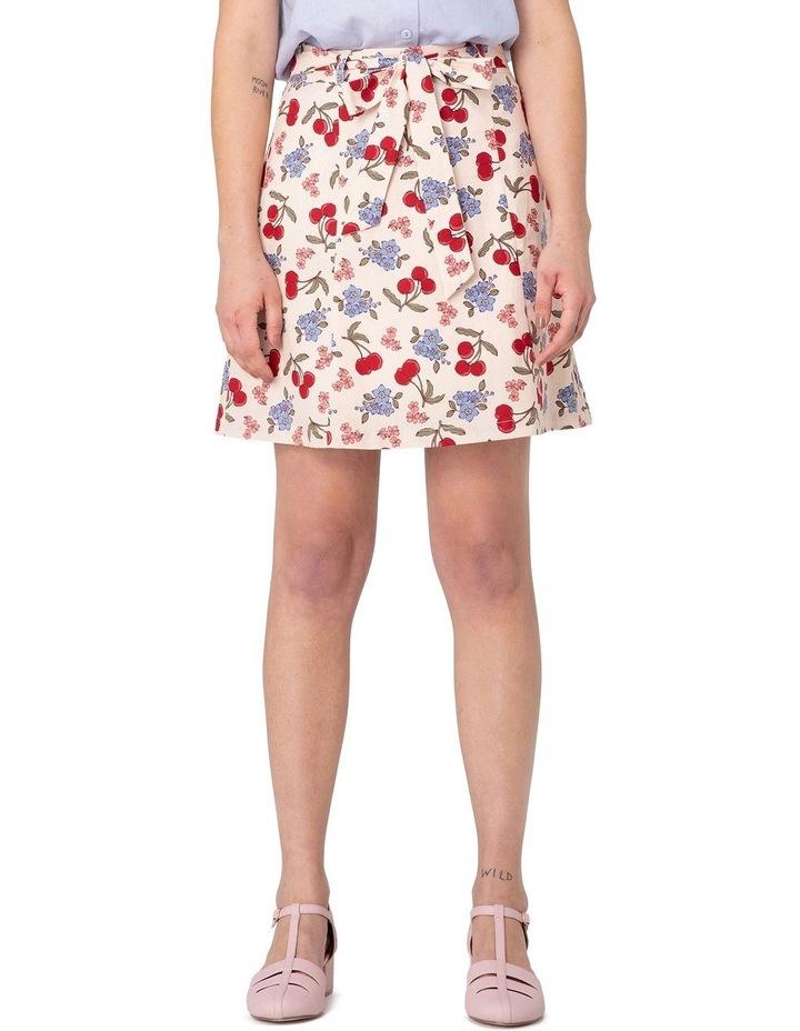 French Cherry Flippy A-line Skirt White image 1