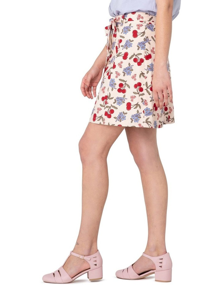 French Cherry Flippy A-line Skirt White image 2