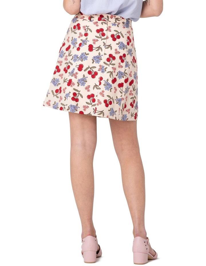 French Cherry Flippy A-line Skirt White image 3