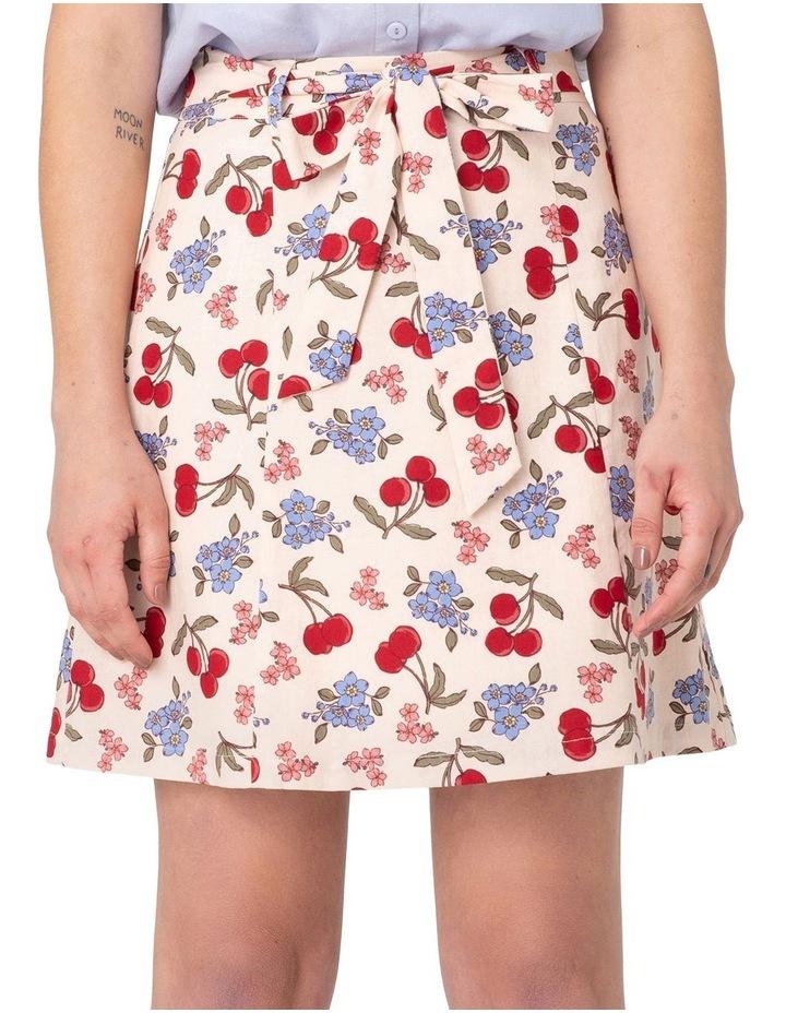 French Cherry Flippy A-line Skirt White image 4