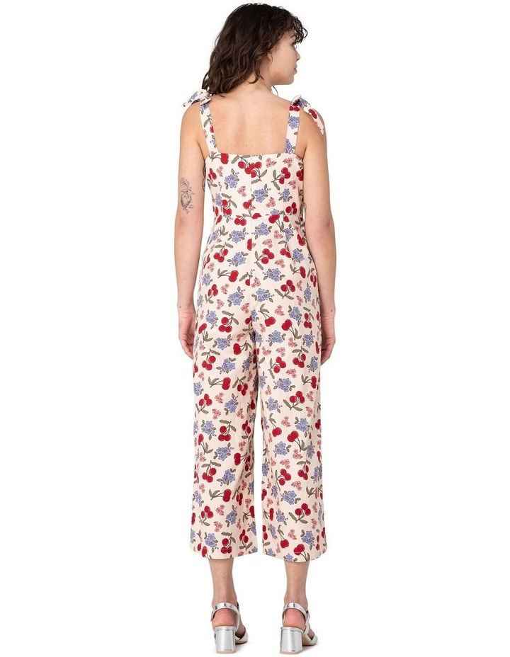 French Cherry High-Waisted Jumpsuit White image 3