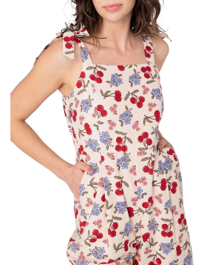 French Cherry High-Waisted Jumpsuit White image 4