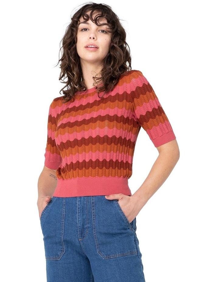 Sylvie Stripe Knit Top Pink image 1