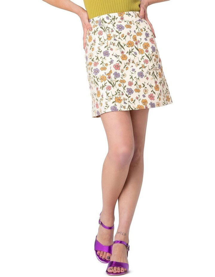 Heather Ditsy Drill Mini Skirt White image 1