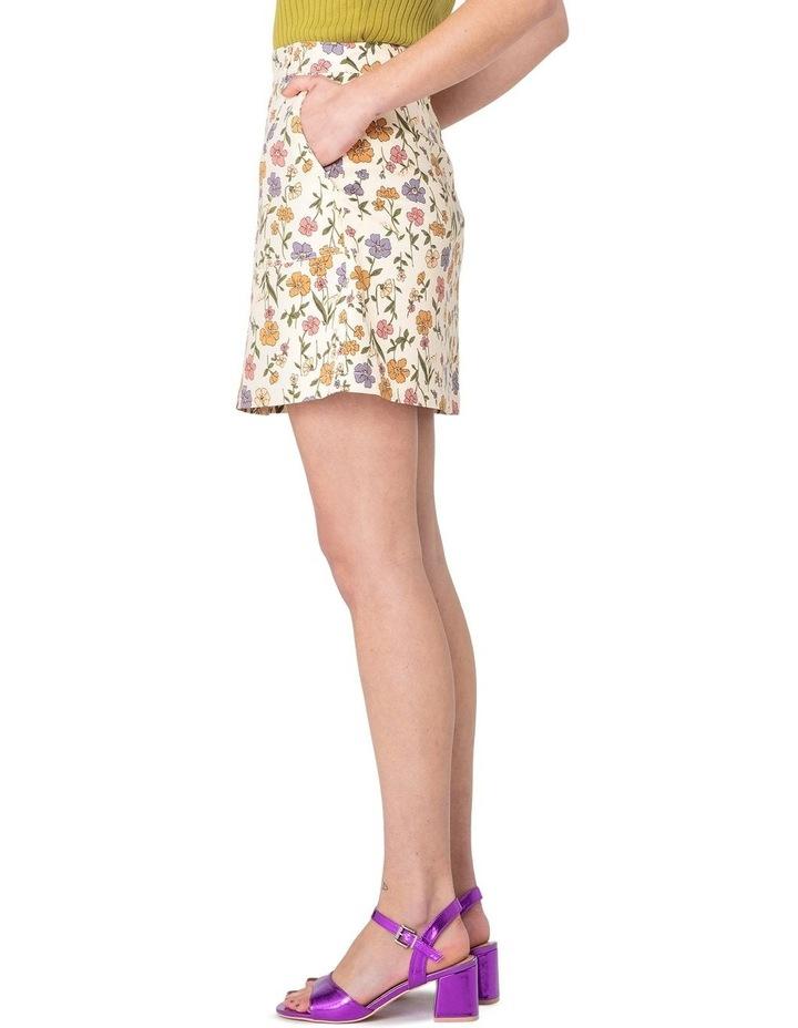 Heather Ditsy Drill Mini Skirt White image 2
