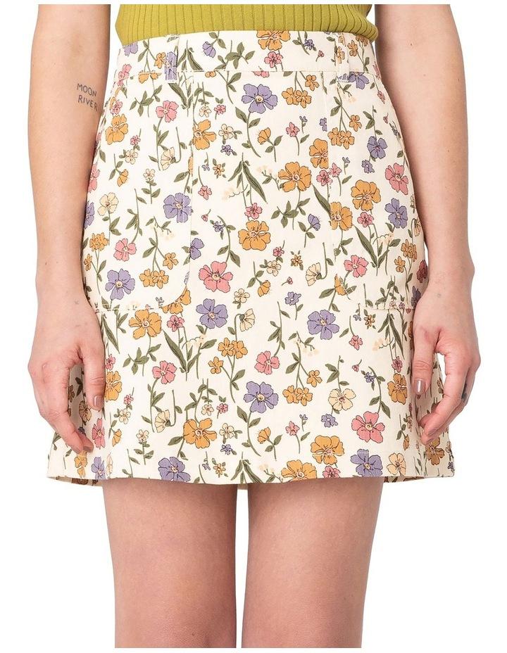 Heather Ditsy Drill Mini Skirt White image 4