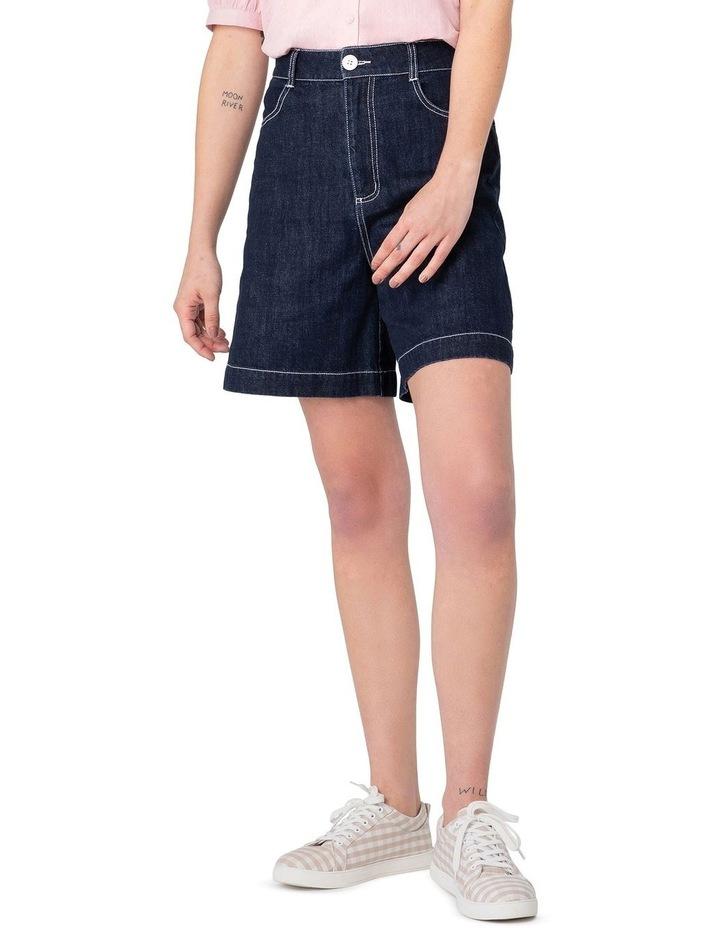 Cherry Denim High-Waisted Shorts Blue image 1