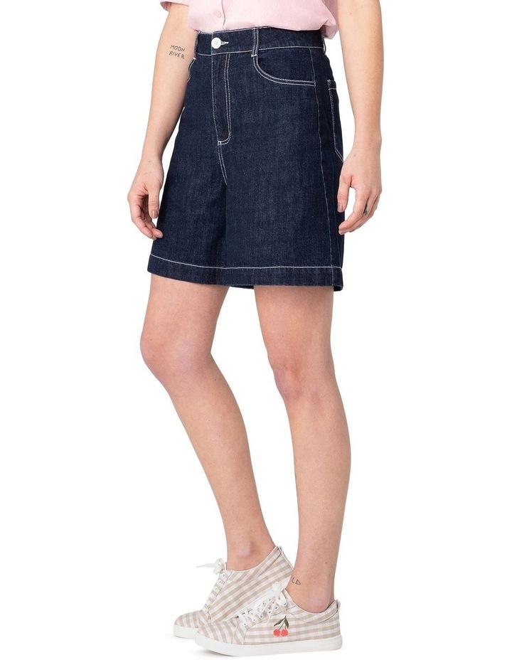 Cherry Denim High-Waisted Shorts Blue image 2