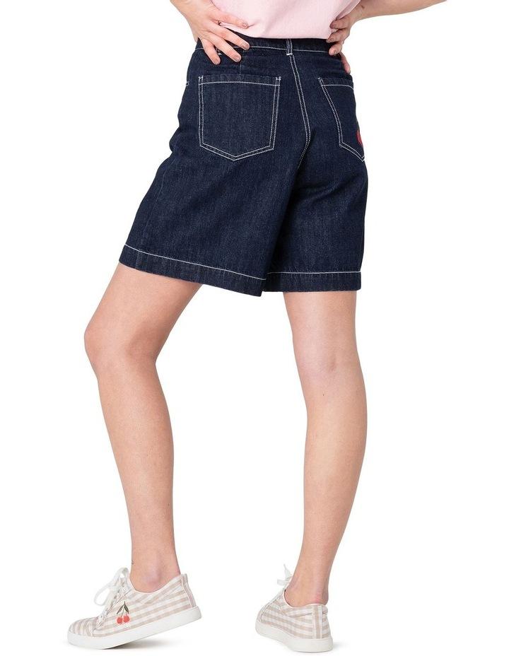 Cherry Denim High-Waisted Shorts Blue image 3