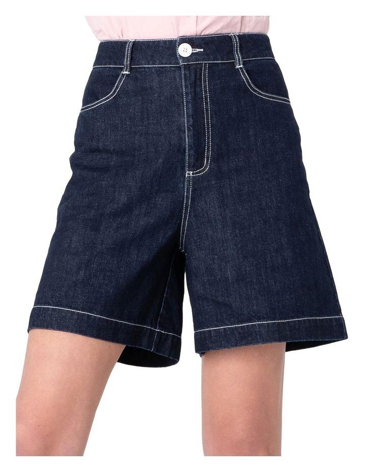 Cherry Denim High-Waisted Shorts Blue image 4