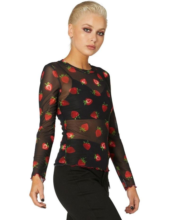 Strawberry Sheer Mesh Top Black image 2