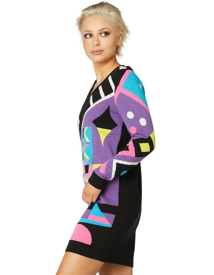 80s Geo LS Dress Knit image 2