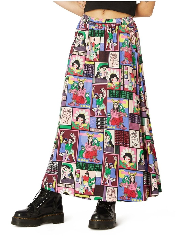 Comic Viscose Midi Skirt image 1