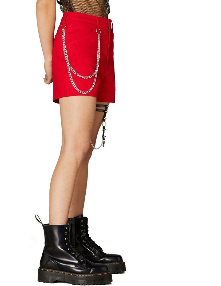 Gothic Chain Mini Shorts Red image 2