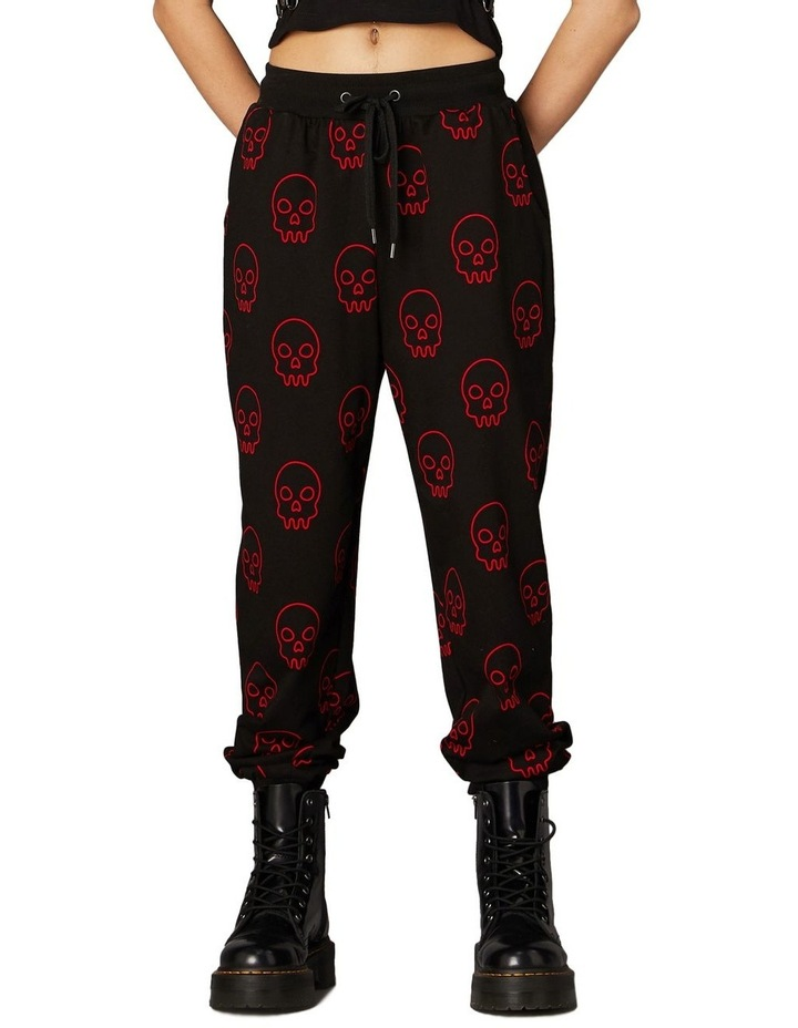 Printed Jersey Goth Trackpants Black image 1
