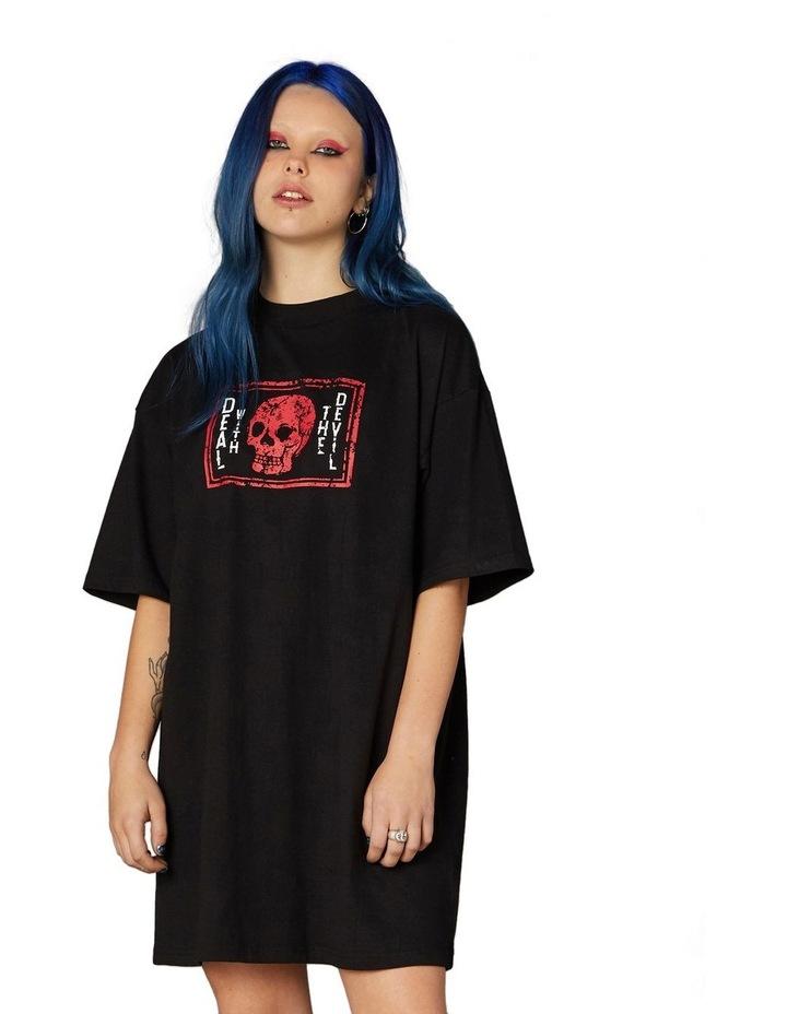 Printed Oversized Tee Dress Black image 1