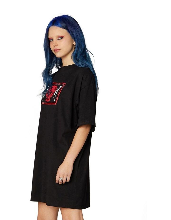 Printed Oversized Tee Dress Black image 2