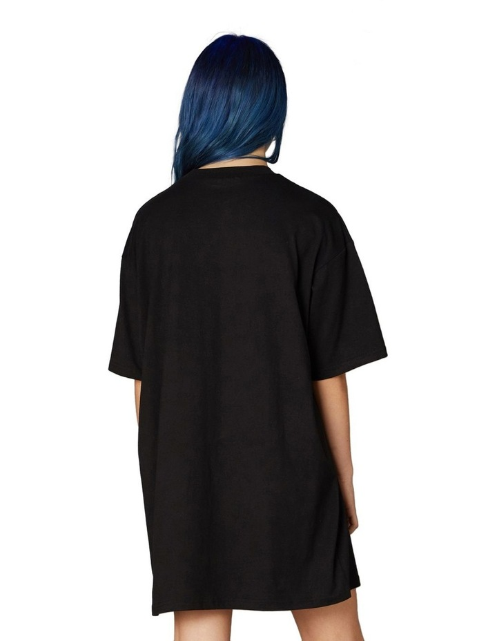 Printed Oversized Tee Dress Black image 3