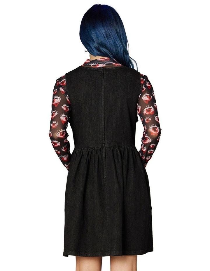 Embroidered Denim Pinafore Black image 3