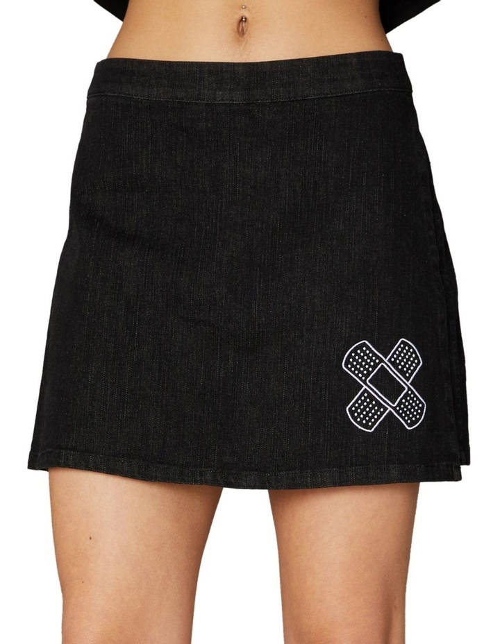 Embroidered Denim Skort Black image 4