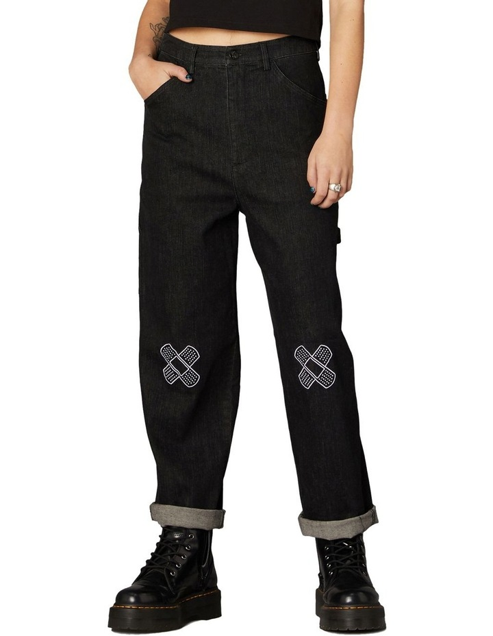 Embroidered Denim Pants Black image 1