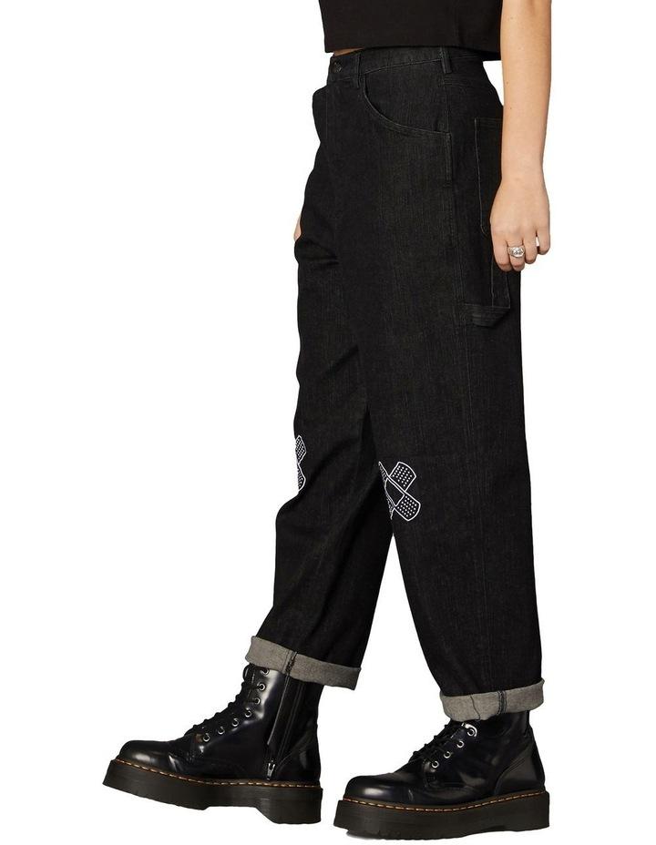 Embroidered Denim Pants Black image 2