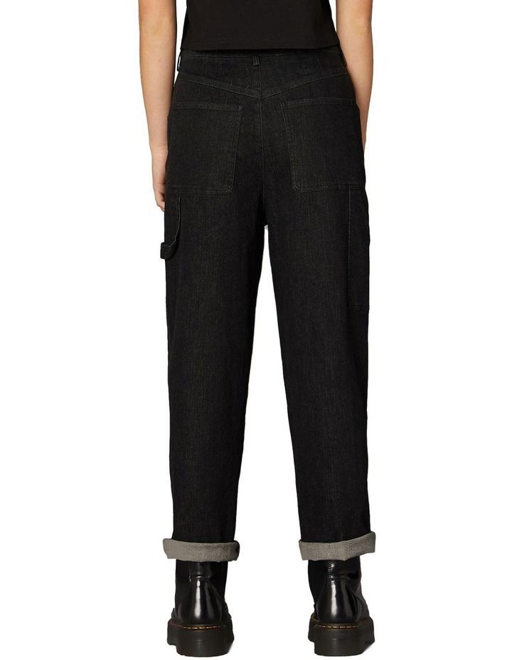 Embroidered Denim Pants Black image 3