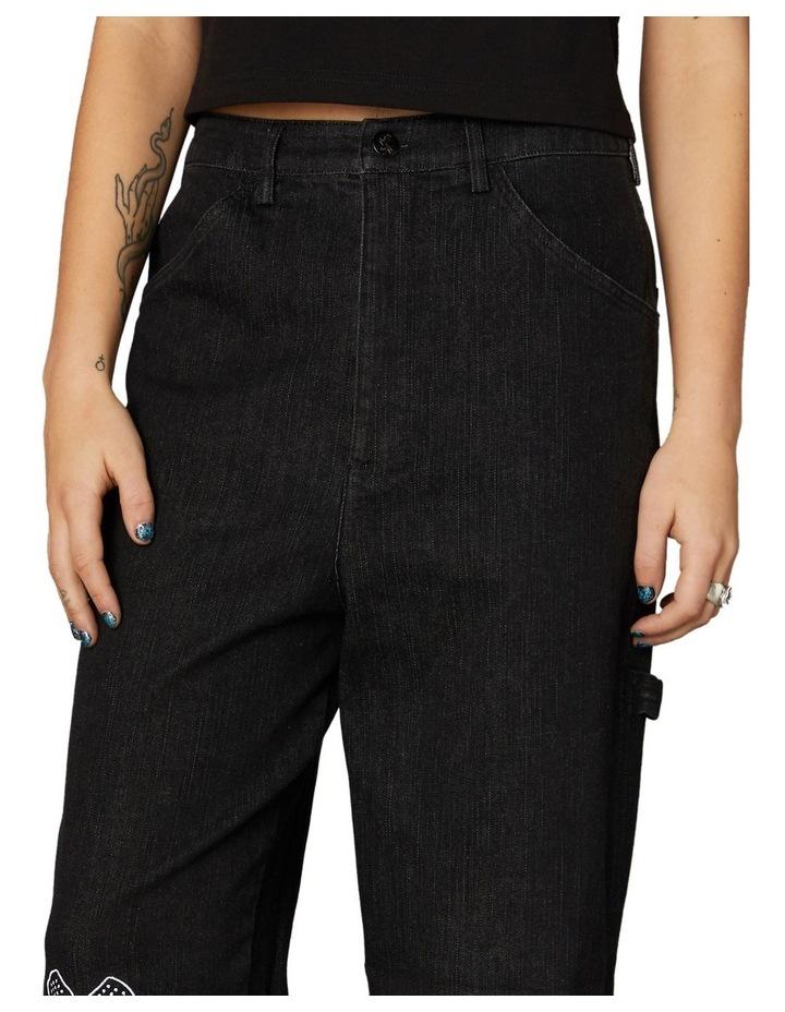 Embroidered Denim Pants Black image 4