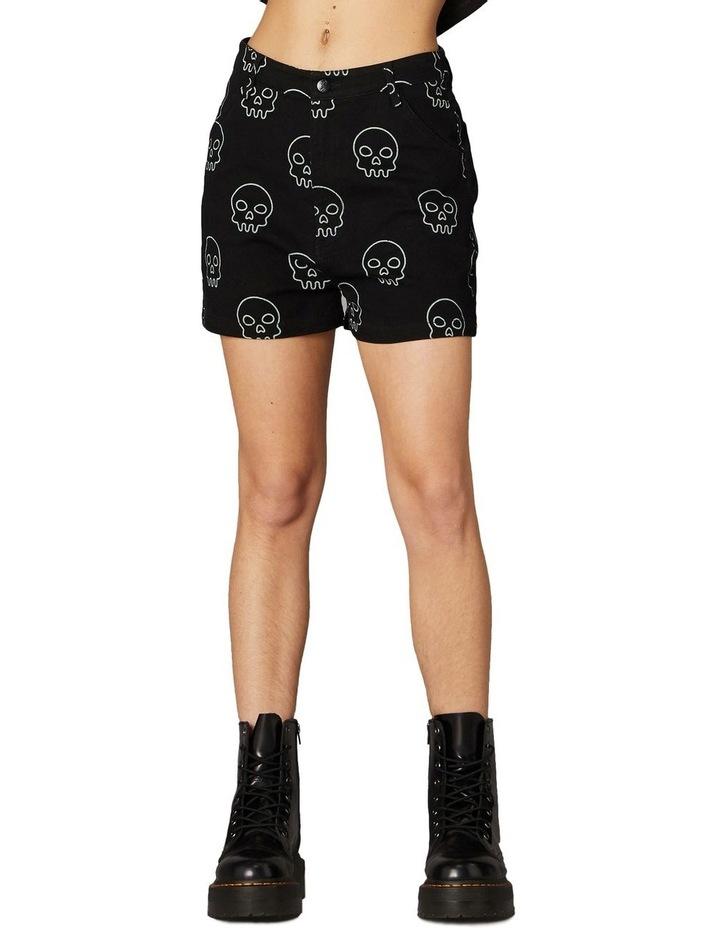 Printed Skull Punk Shorts Black image 1
