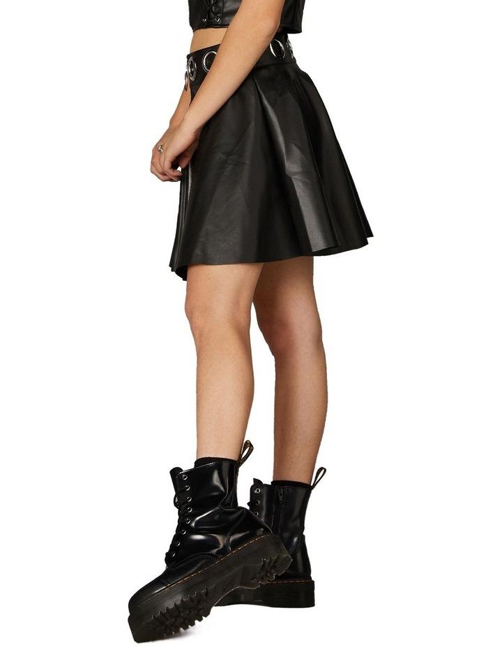 Delusional Front Zipper Skirt Black image 2
