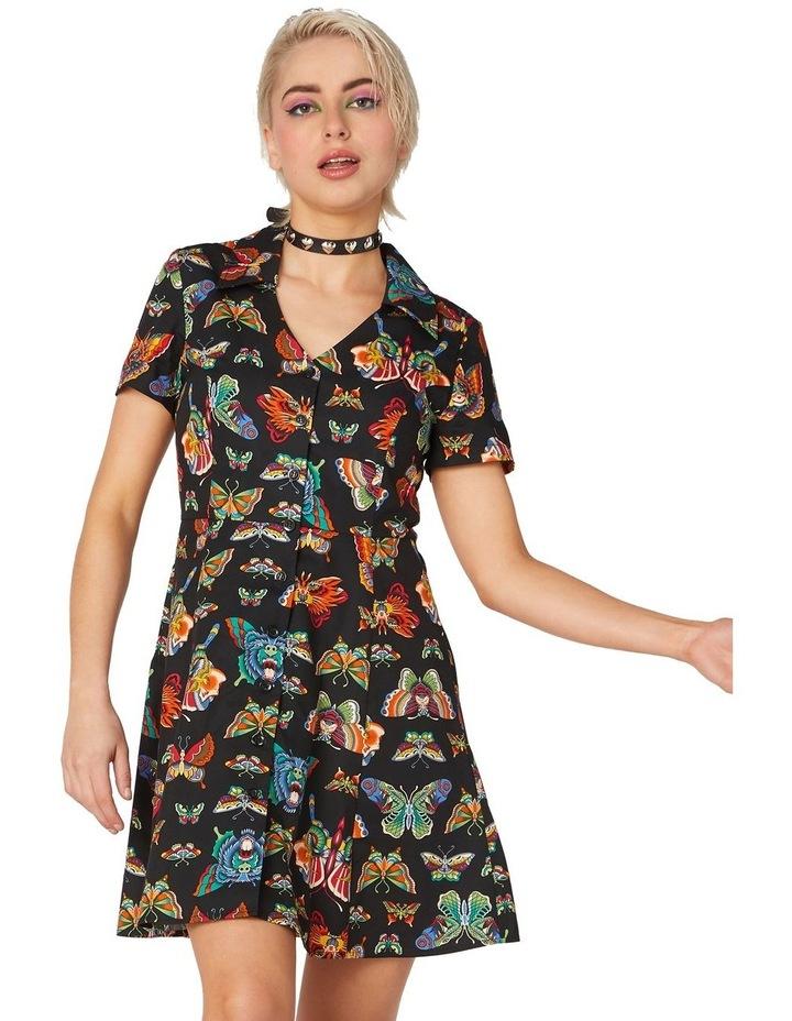 Butterfly Cotton Shirt Dress Black image 1