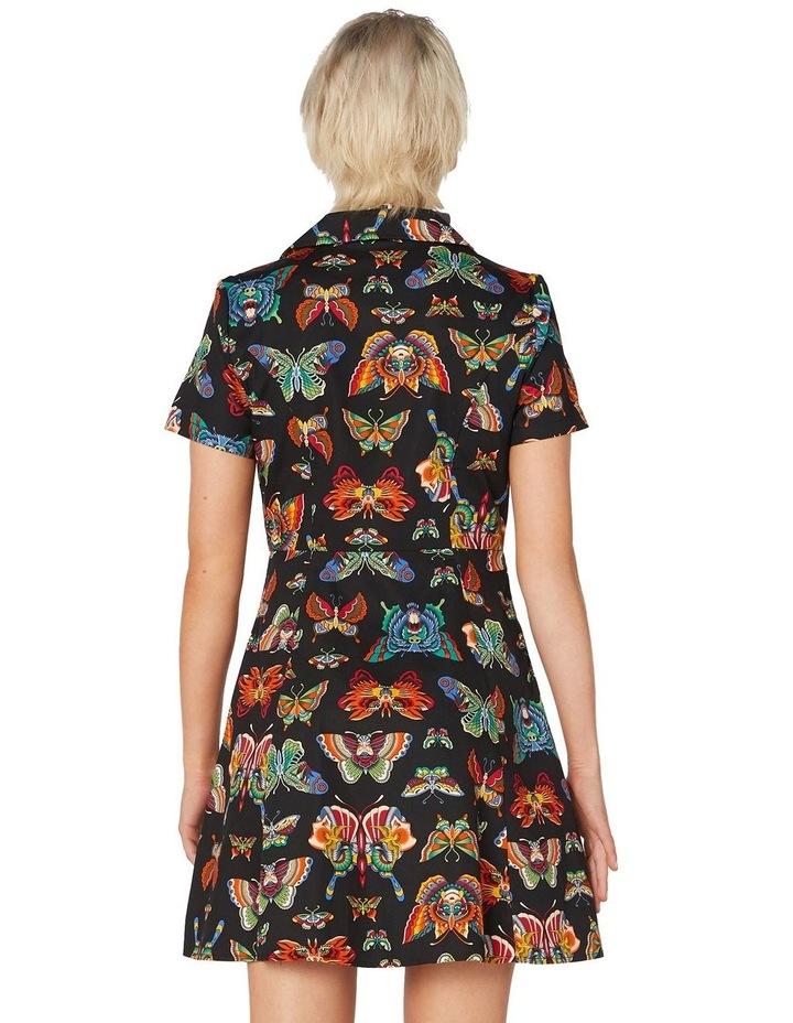 Butterfly Cotton Shirt Dress Black image 3