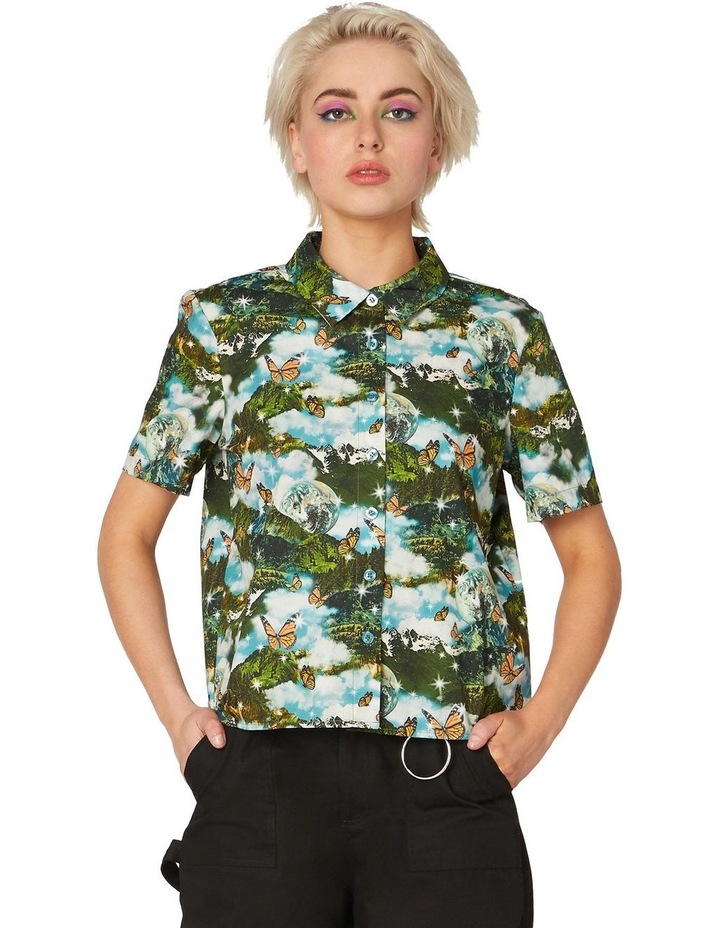 Scenic Cotton Button Up Blouse Green image 1