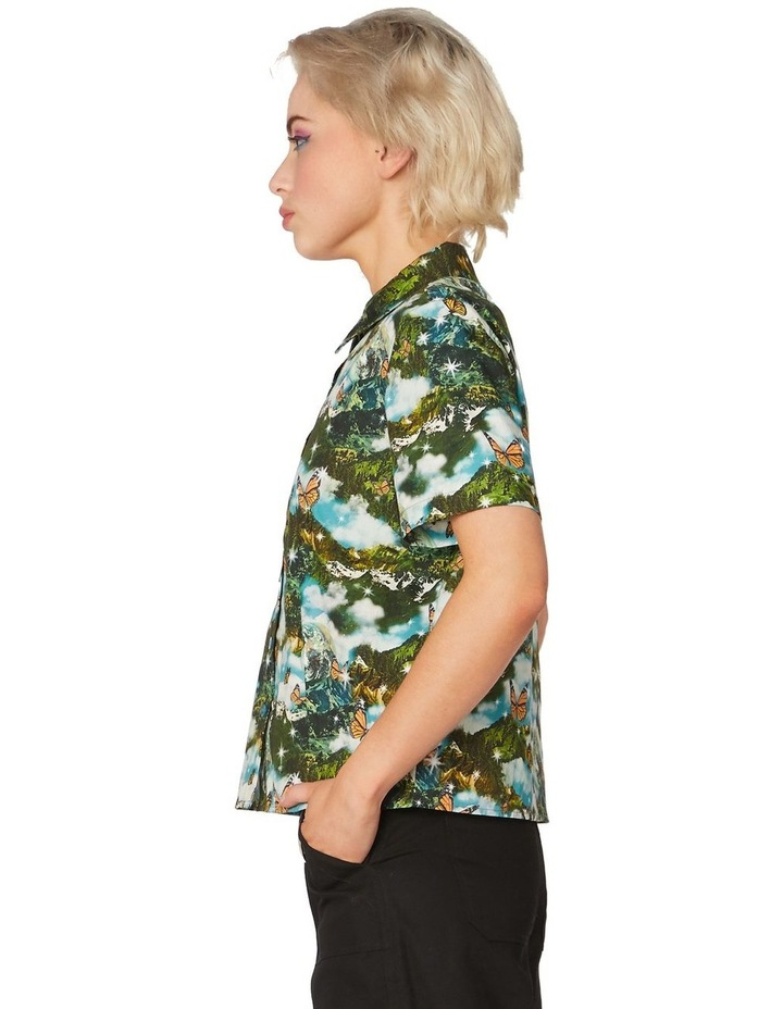 Scenic Cotton Button Up Blouse Green image 2