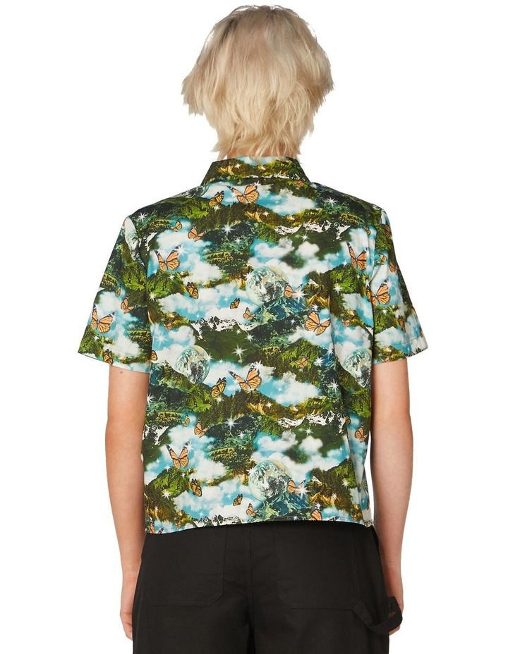 Scenic Cotton Button Up Blouse Green image 3