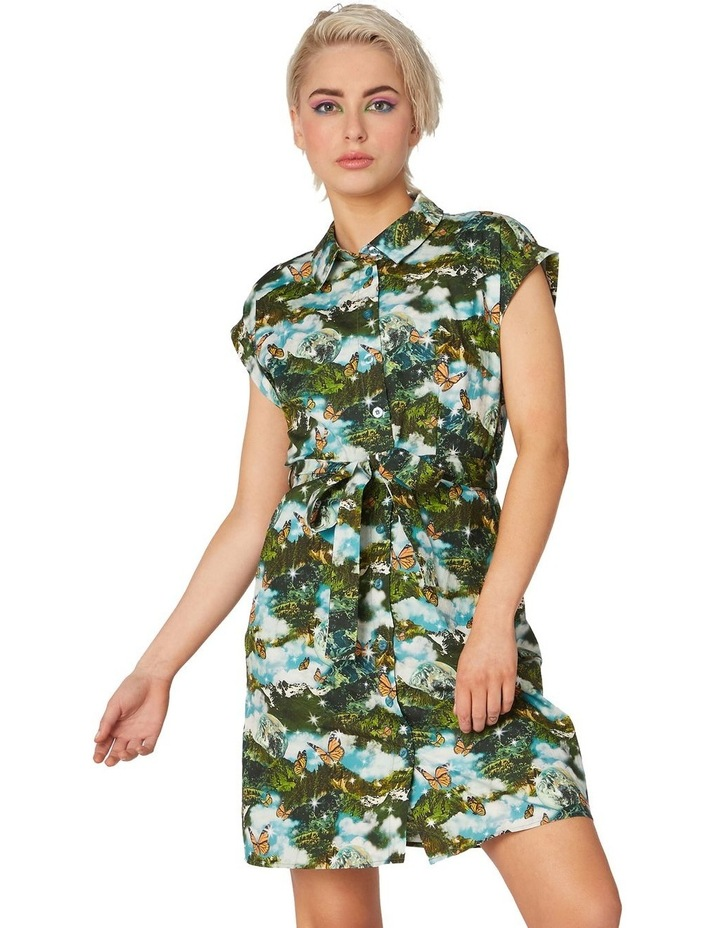 Scenic Cotton Shirt Dress Green image 1