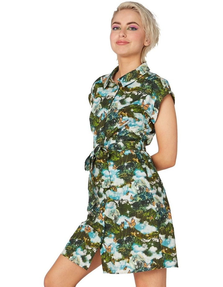 Scenic Cotton Shirt Dress Green image 2