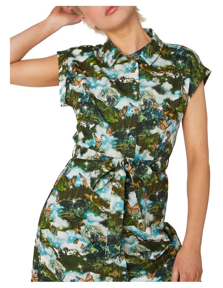 Scenic Cotton Shirt Dress Green image 3