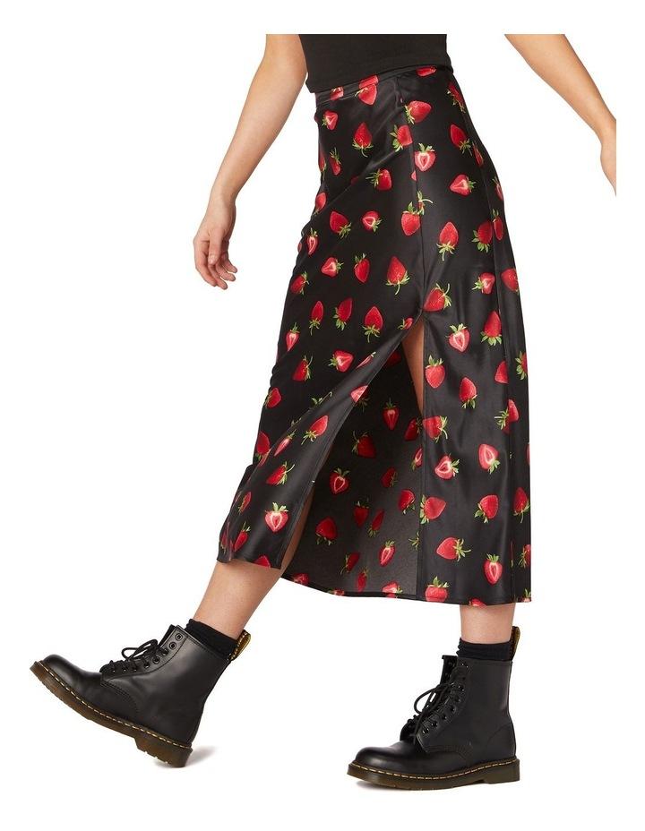 90's Strawberry Satin Slip Skirt Black image 2