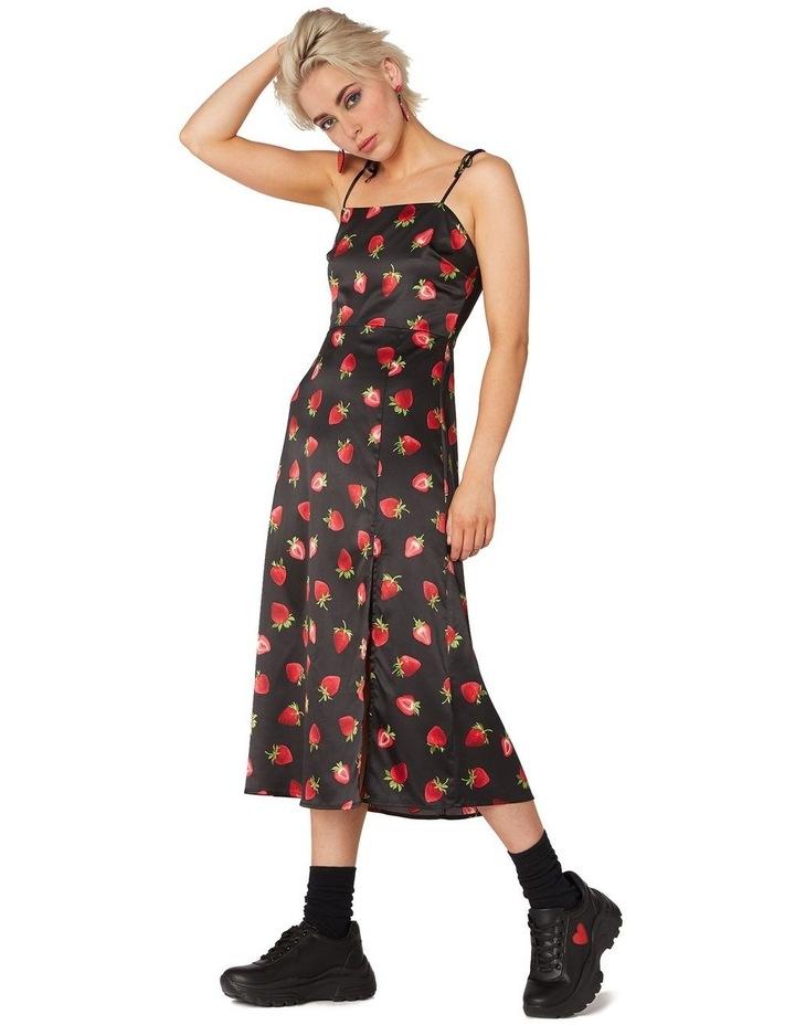 90's Strawberry Satin Slip Dress Black image 2