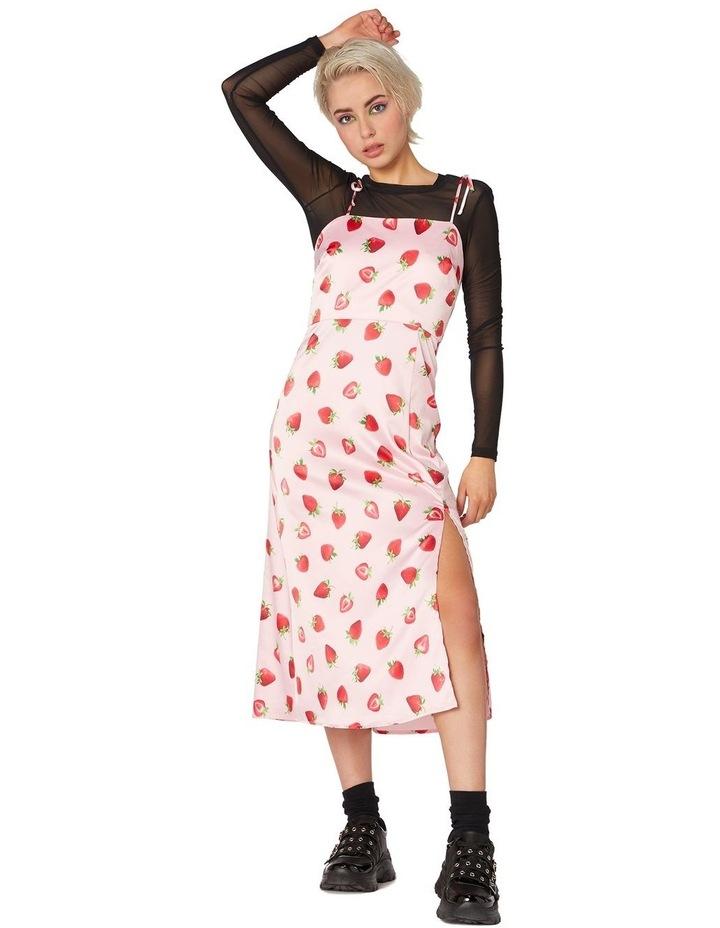 90's Strawberry Satin Slip Dress Pink image 1