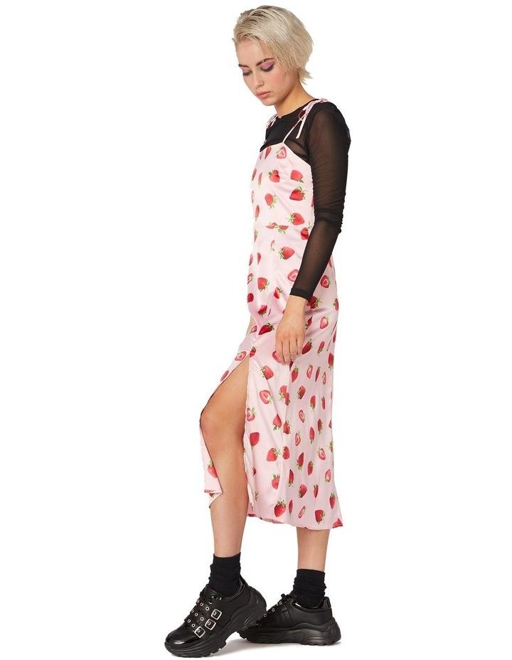 90's Strawberry Satin Slip Dress Pink image 2