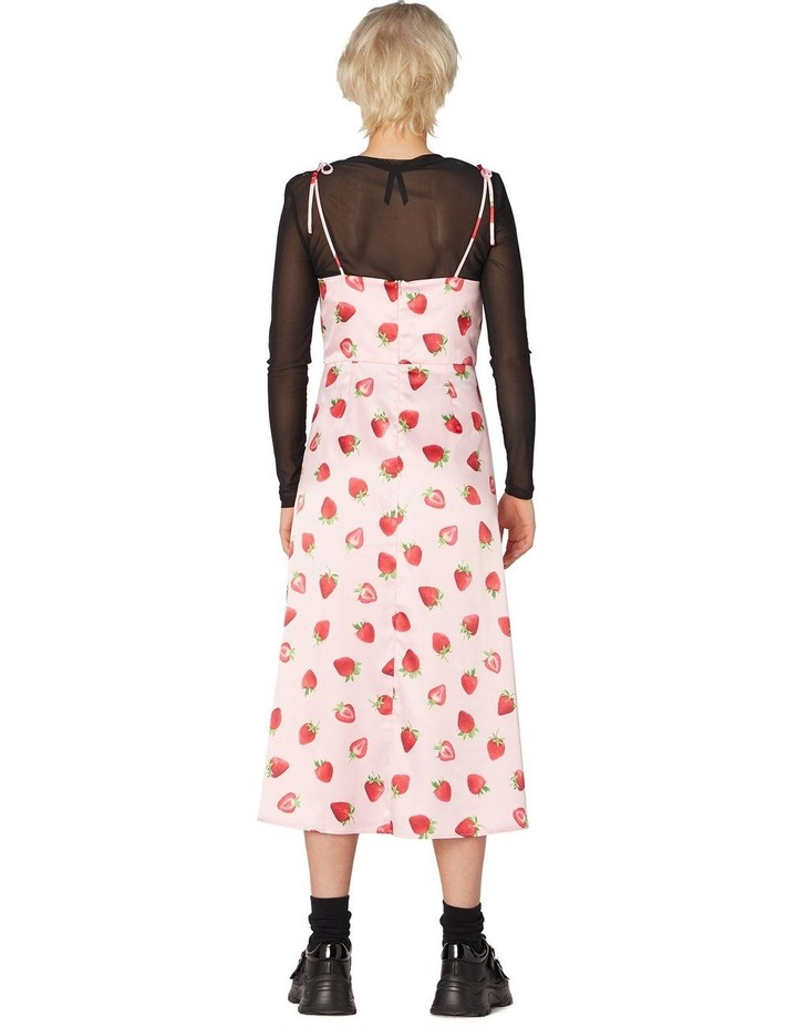 90's Strawberry Satin Slip Dress Pink image 3