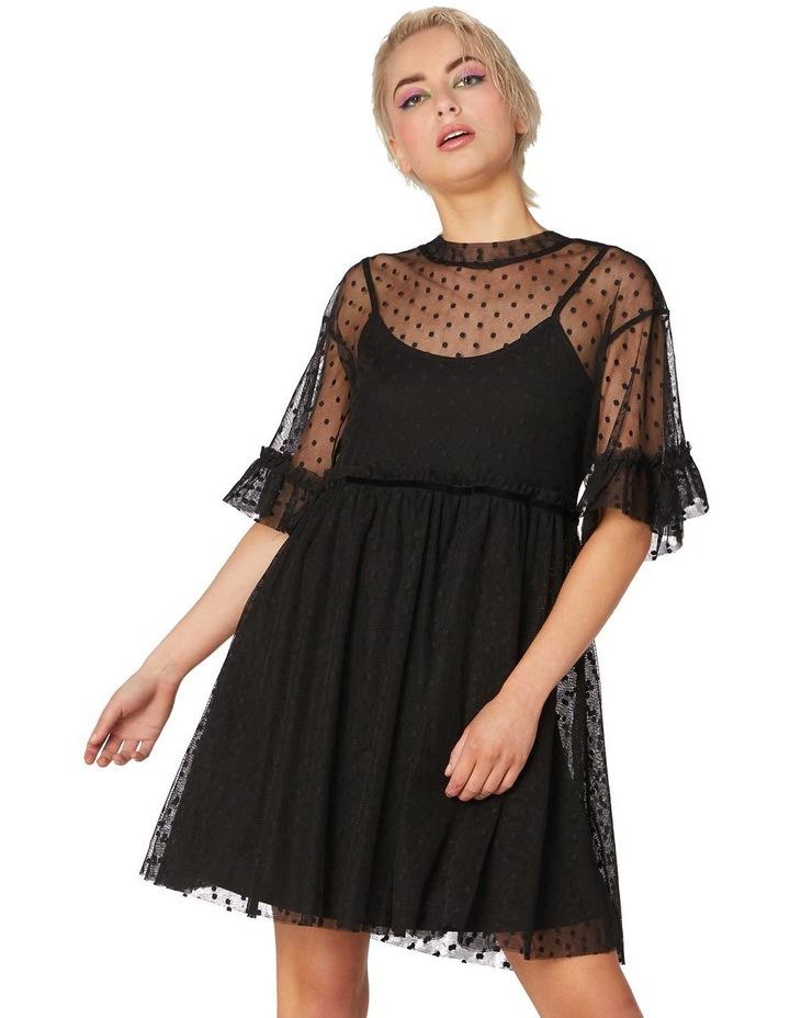 Spot Sheer Mesh Smock Dress Black image 1