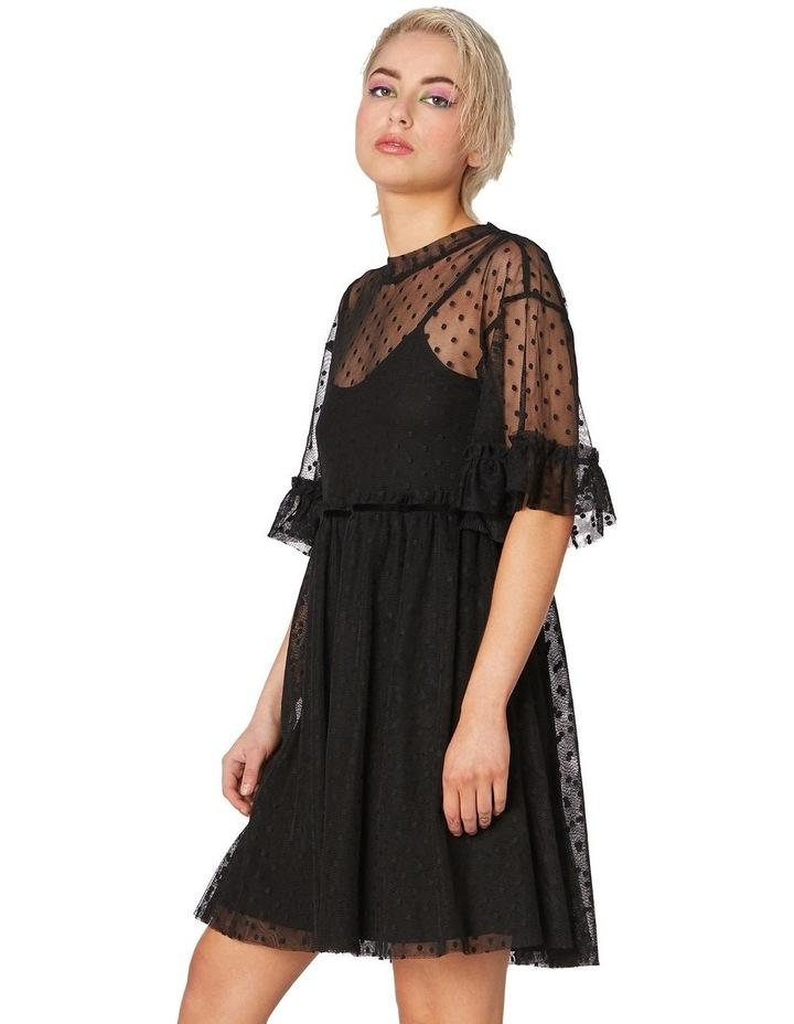 Spot Sheer Mesh Smock Dress Black image 2
