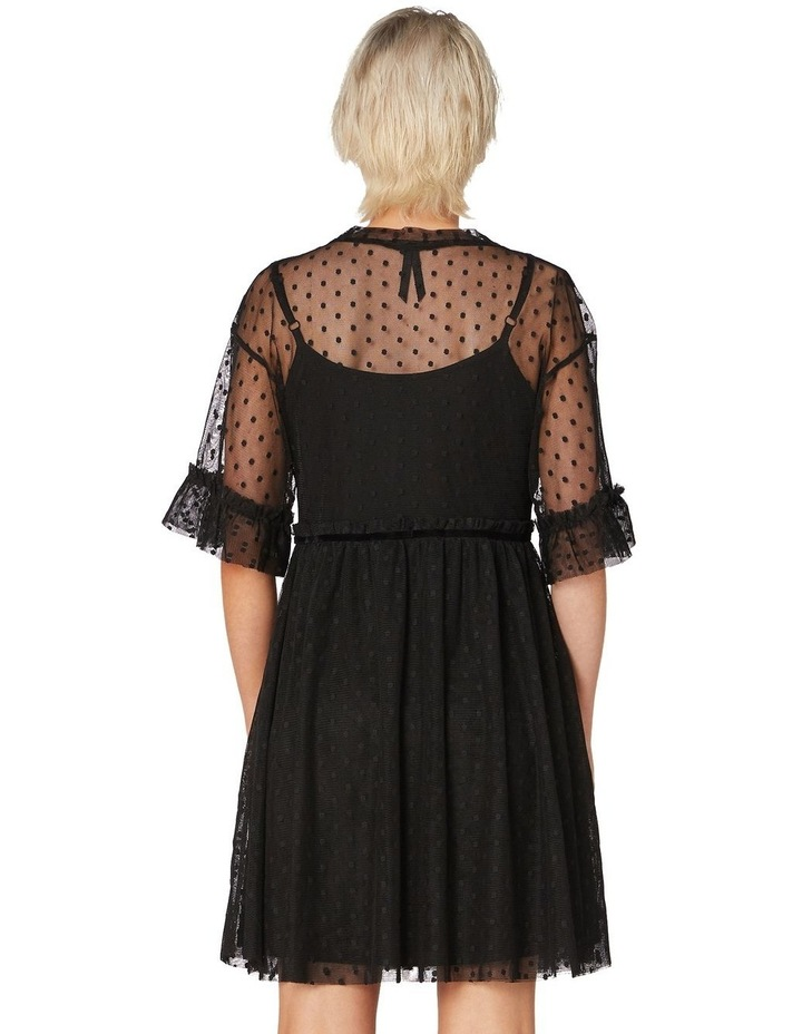 Spot Sheer Mesh Smock Dress Black image 3