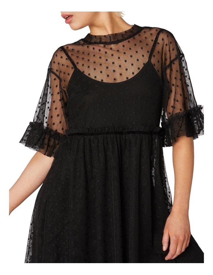 Spot Sheer Mesh Smock Dress Black image 4