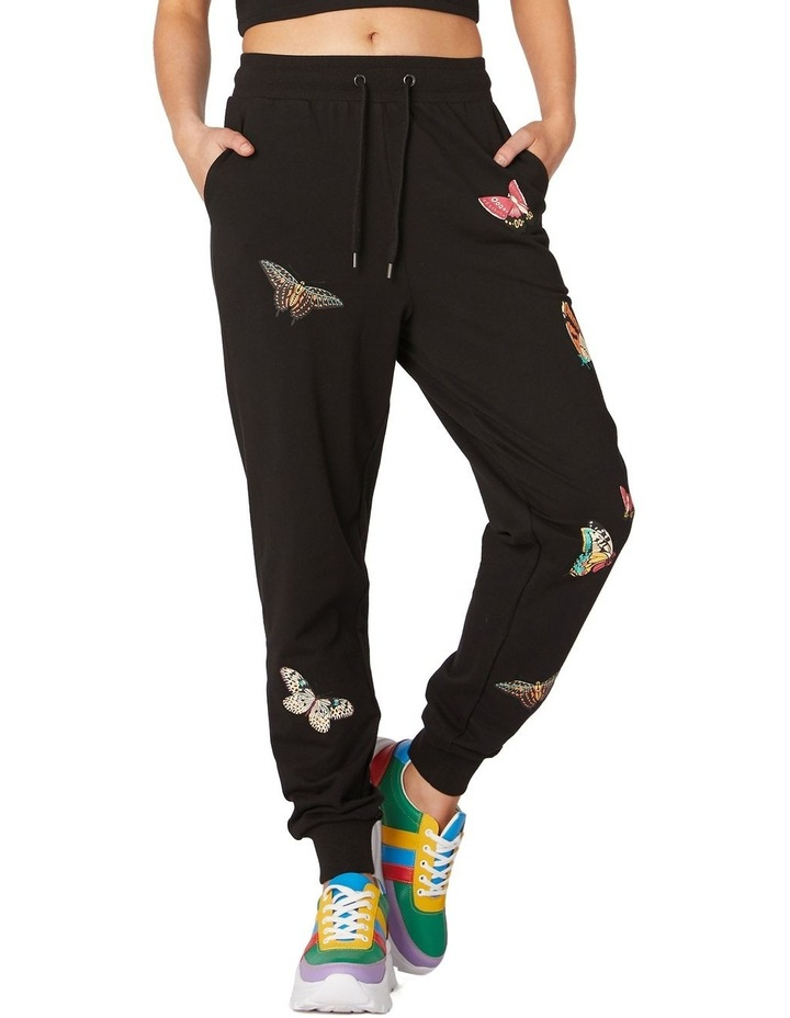 Butterfly Cotton Track Pants Black image 1