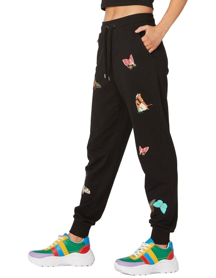 Butterfly Cotton Track Pants Black image 2