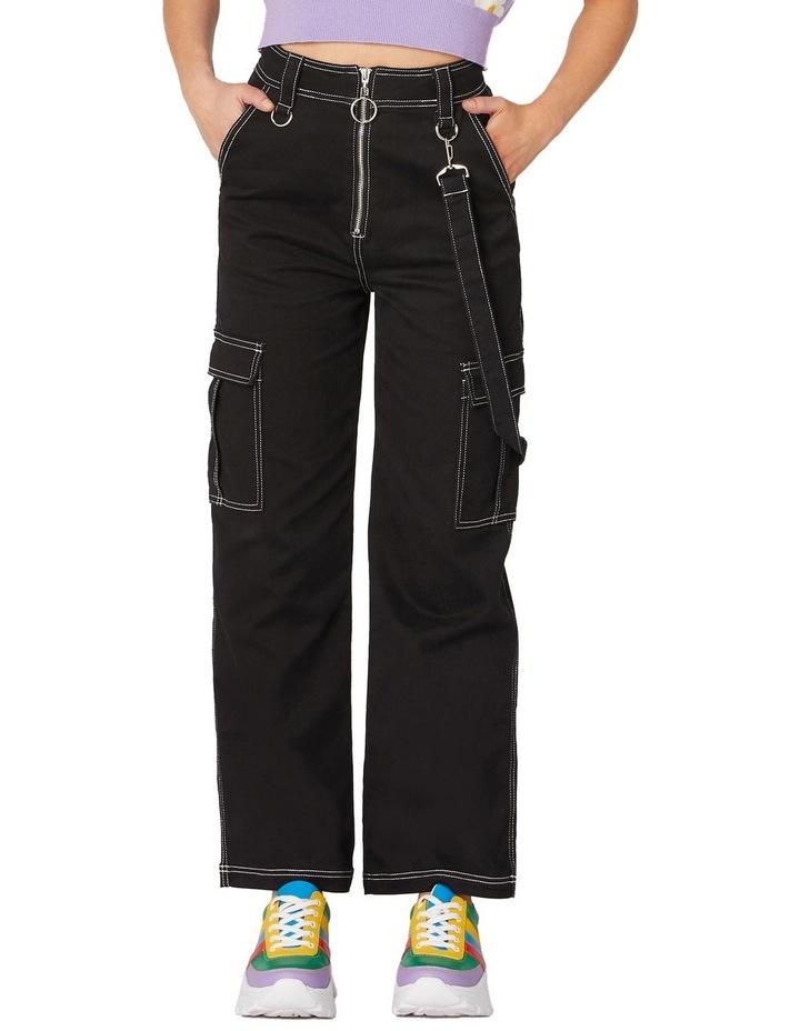 Perky Straight Leg Cargo Pants Black image 1